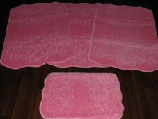 ROMANY WASHABLES HEARTS SUPER THICK NEW DESIGNS 4PC SET BABY PINK NON SLIP